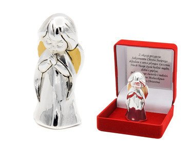 Aniołek  modlący się 7 cm Srebro Grawer Dedykacja Pamiątka Chrztu na Chrzest