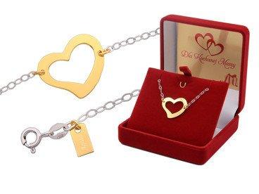 Bransoletka srebrna z pozłacanym sercem i blaszką pr. 925 GRAWER
