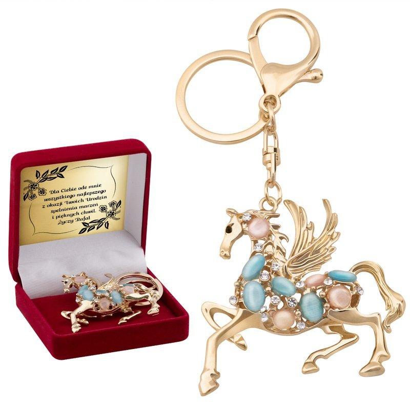 Breloczek do kluczy Swarovski Koń Dedykacja