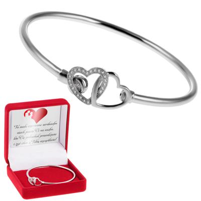 Okrągła Bransoletka srebrna Duże Złączone serca pr. 925