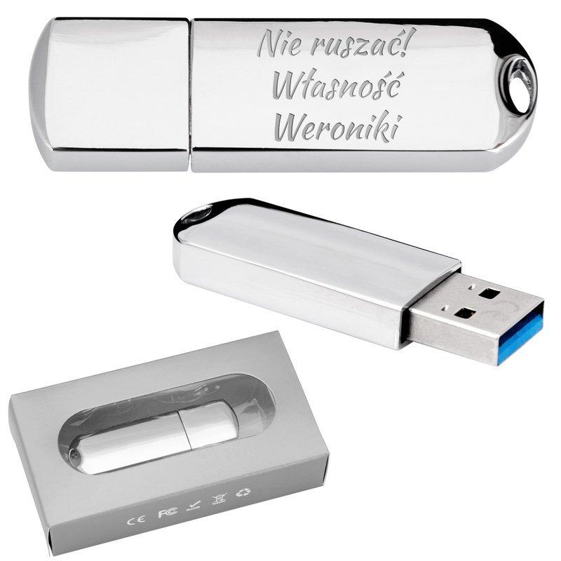 Pendrive chrom 32 GB Pamięć USB prezent z GRAWEREM