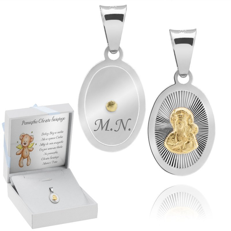 Pozłacany medalik Matka Boska srebro pr. 925 Grawer