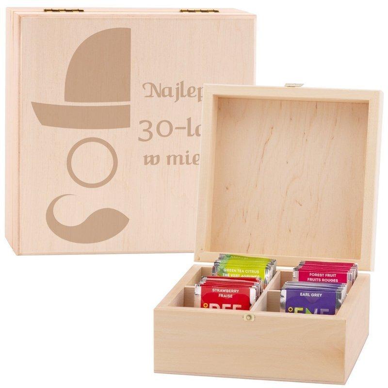 Pudełko drewniane na herbatę dla Babci Mamy z Grawerem