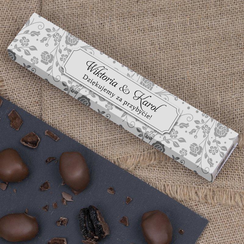 Śliwki w czekoladzie mlecznej na ślub - szare kwiatki 140g