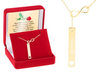 Srebrny Złocony Naszyjnik pr. 925 Krawatka Nieskończoność GRAWER