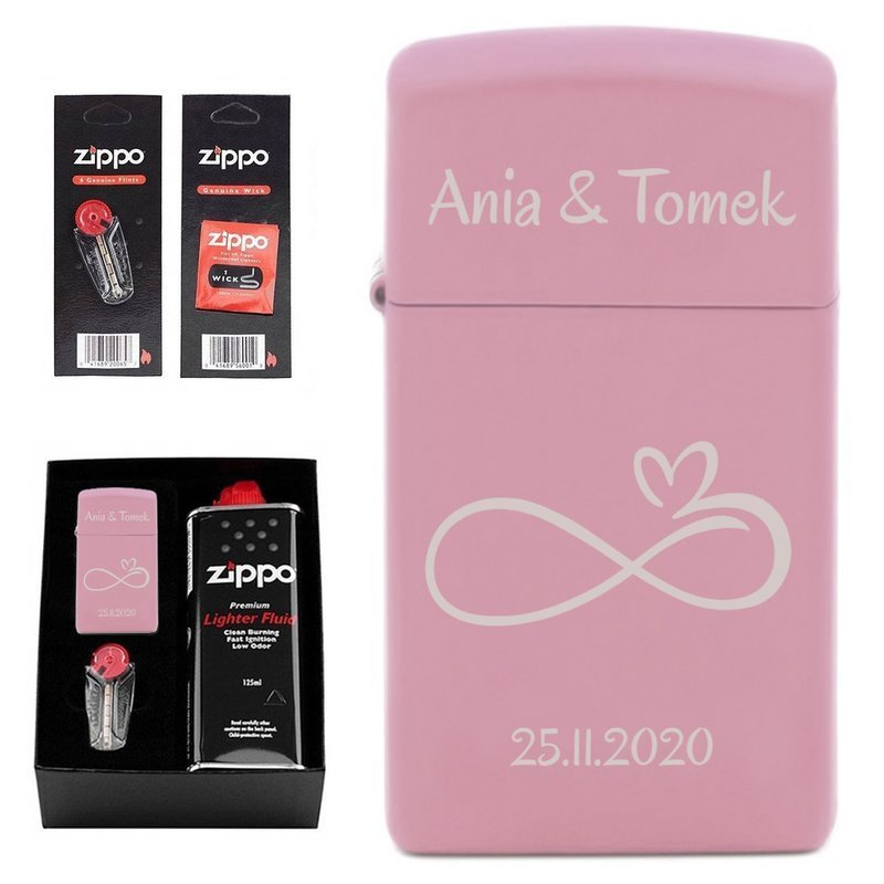 Zapalniczka ZIPPO Slim Pink Matte Pudełko + Akcesoria PREZENT GRAWER