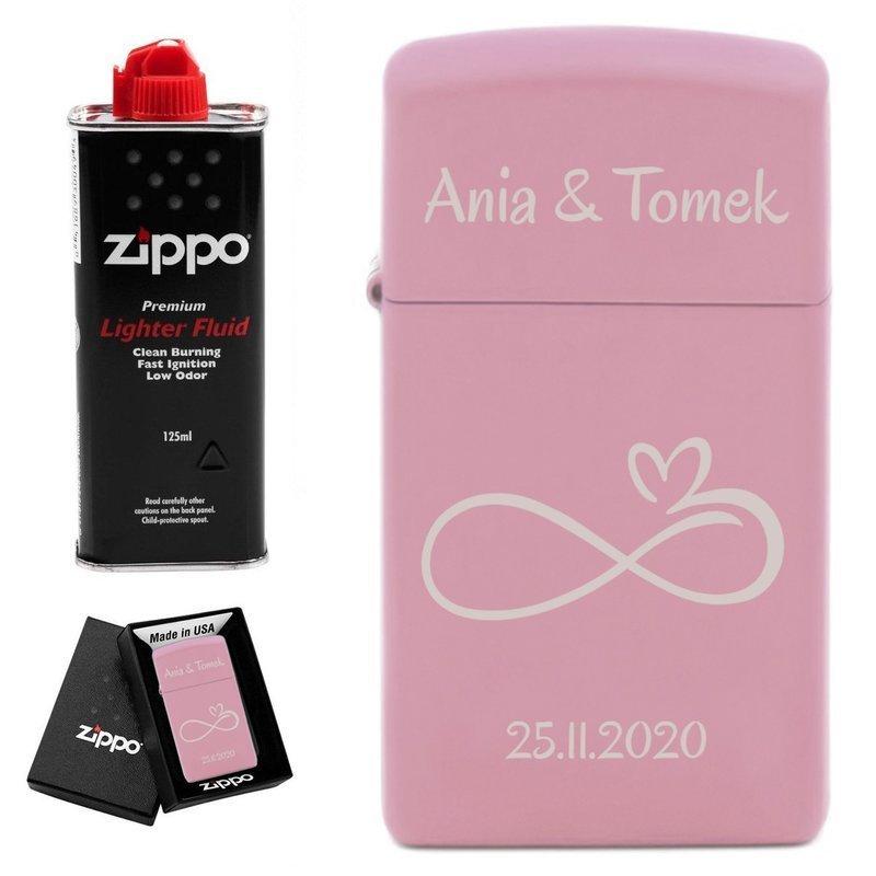 Zapalniczka ZIPPO Slim Pink Matte benzyna PREZENT GRAWER