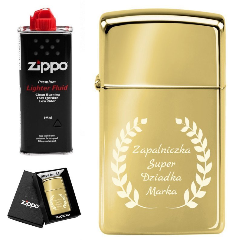 Zapalniczka ZIPPO z1654b Slim High Polish Brass Benzyna Grawer