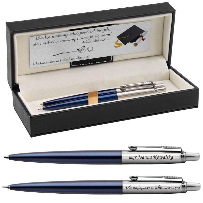Zestaw Długopis Ołówek Jotter Parker Royal Granatowy CT z Grawerem