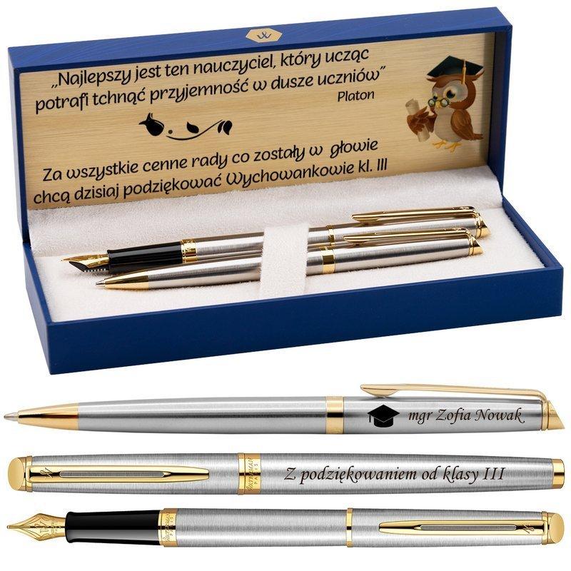 Zestaw Pióro wieczne Długopis Waterman Hemisphere stalowy GT z Grawerem