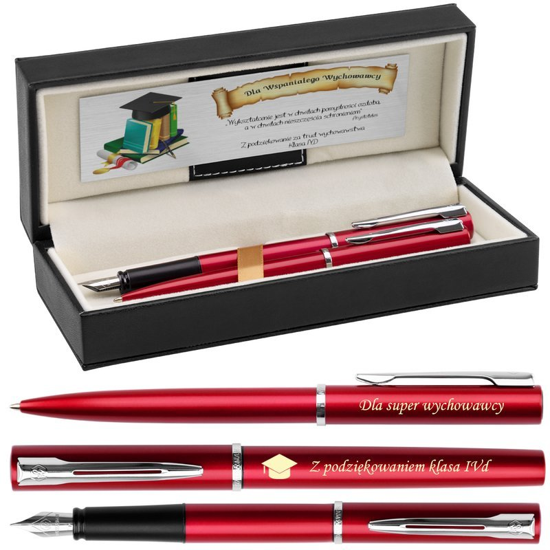 Zestaw Waterman Pióro Długopis Allure Czerwony CT Grawer