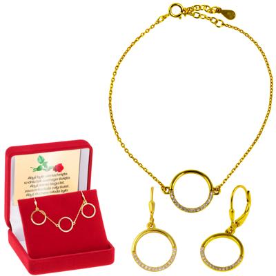 Zestaw bransoletka + kolczyki okrąg z cyrkoniami Srebro 925 Dedykacja