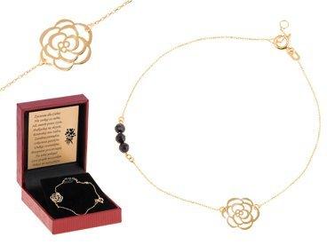 Złota bransoletka łańcuszek z różą pr. 585 DEDYKACJA złota kokardka