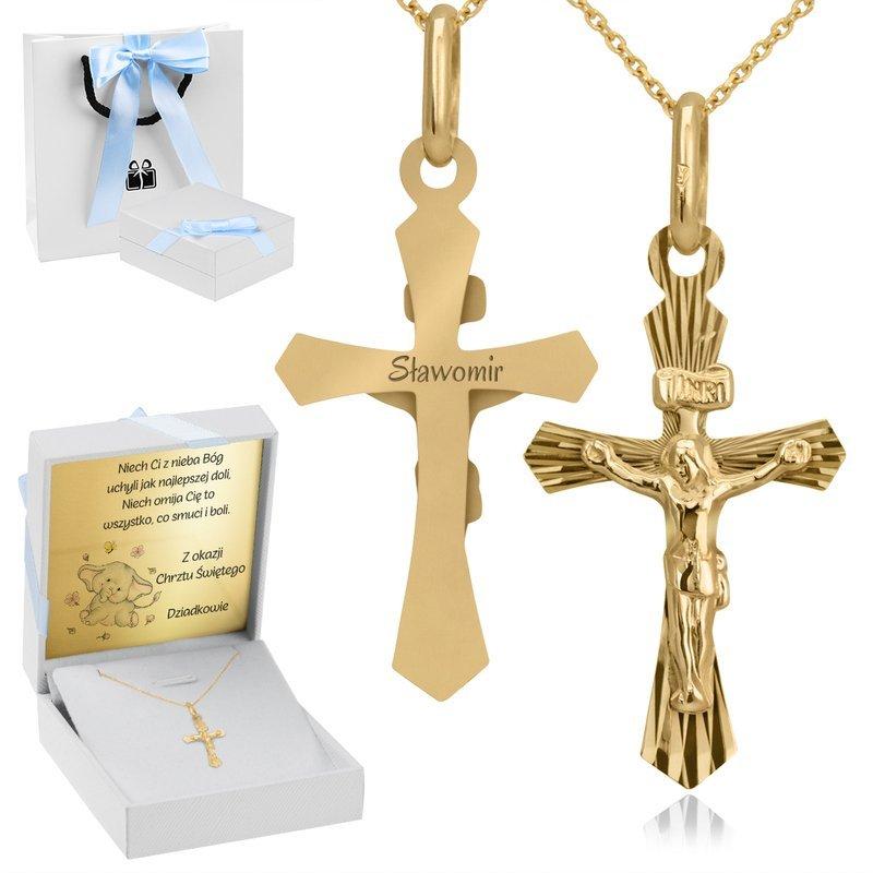 Złoty Krzyżyk z Jezusem Z Grawerem i Dedykacją Nieb.