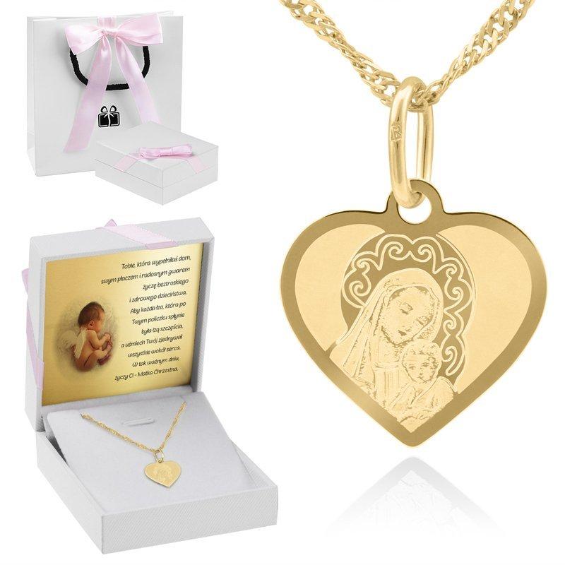 Złoty Medalik pr. 585 Serce Matka Boska Chrzest Dedykacja różowa kokardka