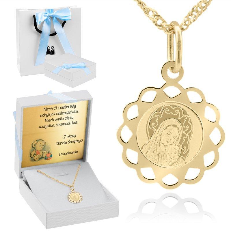Złoty ażurowy medalik Matka Boska z Dzieciątkiem pr. 585 Dedykacja