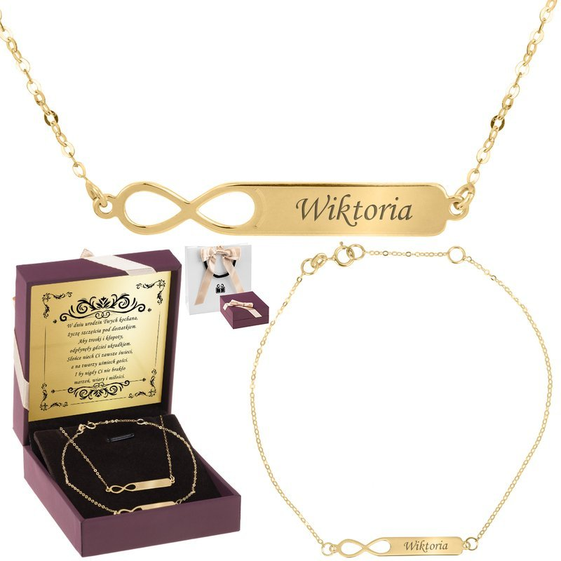 Złoty komplet bransoletka naszyjnik pr. 333 Nieskończoność grawer złota kokardka