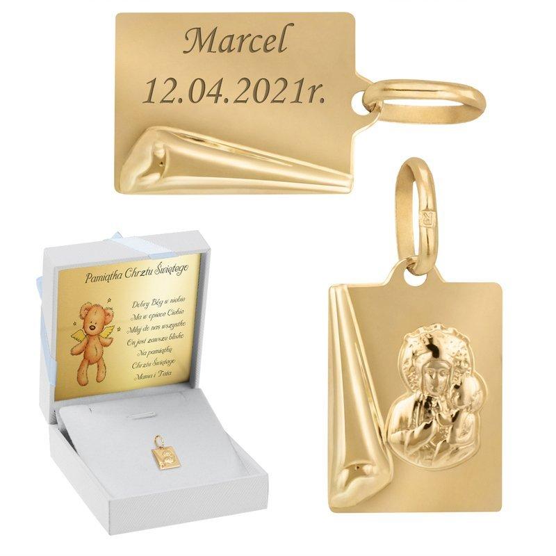 Złoty medalik z Matką Boską i Dzieciątkiem pr. 585 Grawer