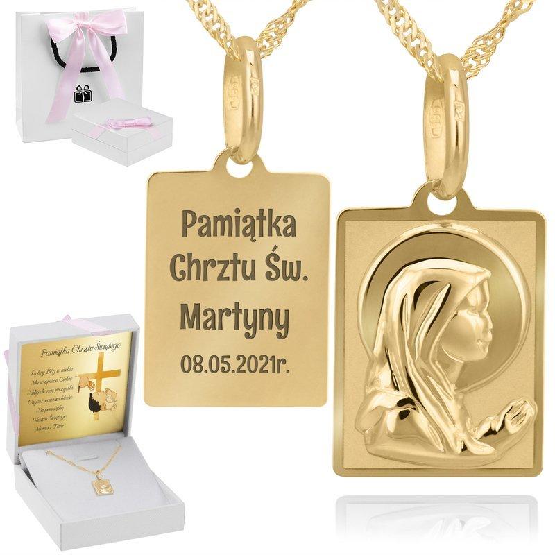 Złoty prostokątny medalik z łańcuszkiem próba 585 Matka Boska Chrzest Komunia Bierzmowanie Grawer