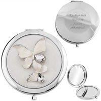 Lusterko Posrebrzane Motyle z kryształami Prezent z Grawerem