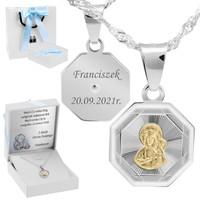 Srebrny medalik Matka Boska Częstochowska Pozłacana pr. 925 Grawer różowa kokarda
