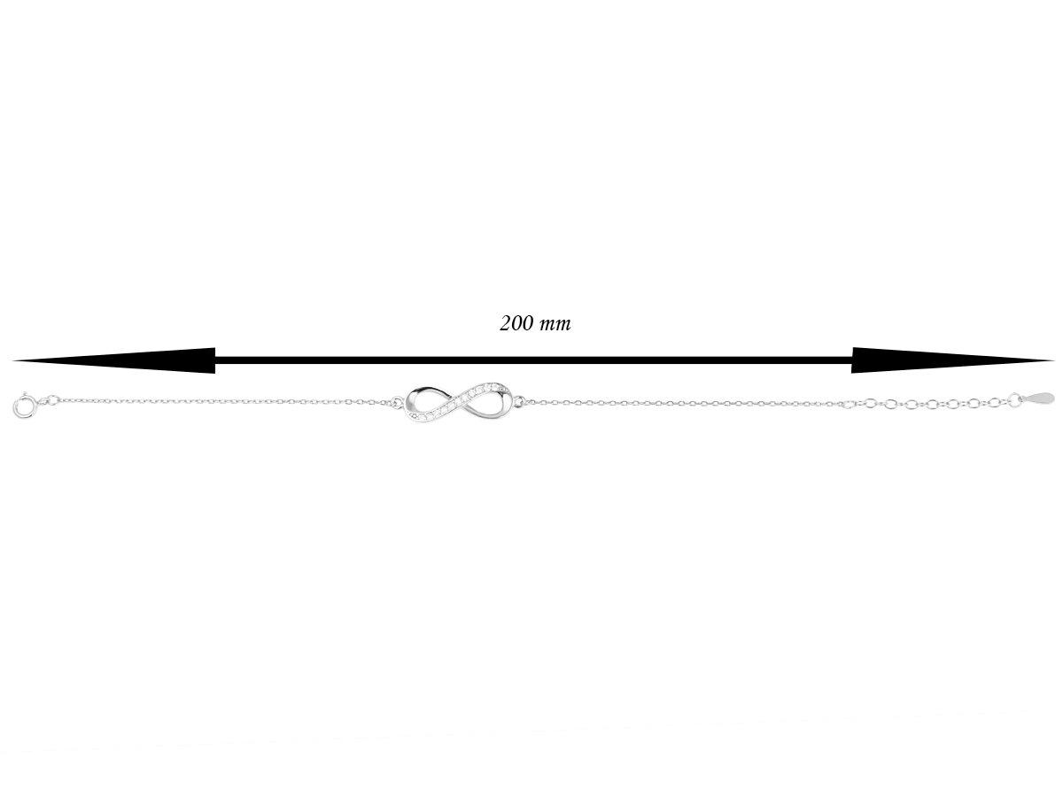 Komplet bransoletka i naszyjnik pr. 925 nieskończoność z cyrkoniami DEDYKACJA