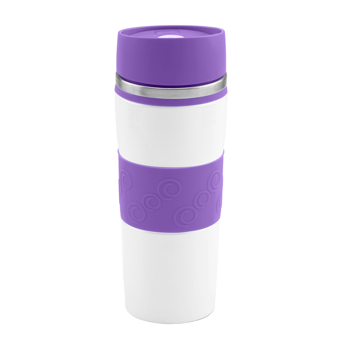 Kubek termiczny 350 ml biało-fioletowy Grawer