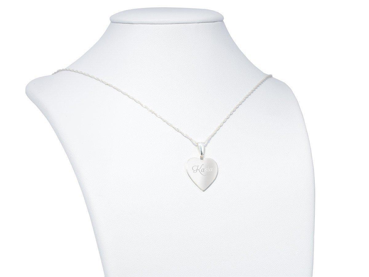 Srebrny łańcuszek z zawieszką pr. 925 Serduszko GRAWER