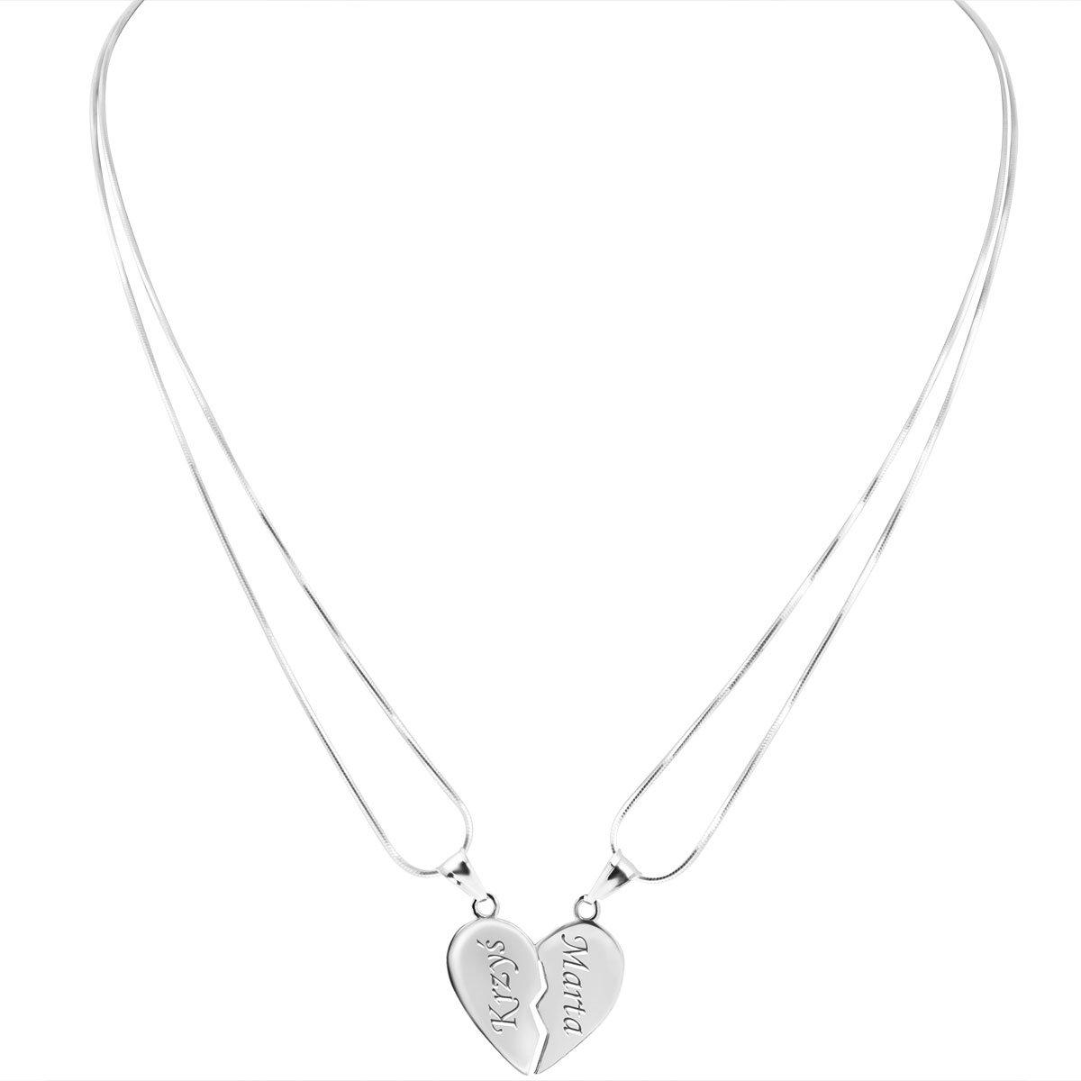 Wisiorek duże Serce łamane z łańcuszkami Srebro 925 Grawer