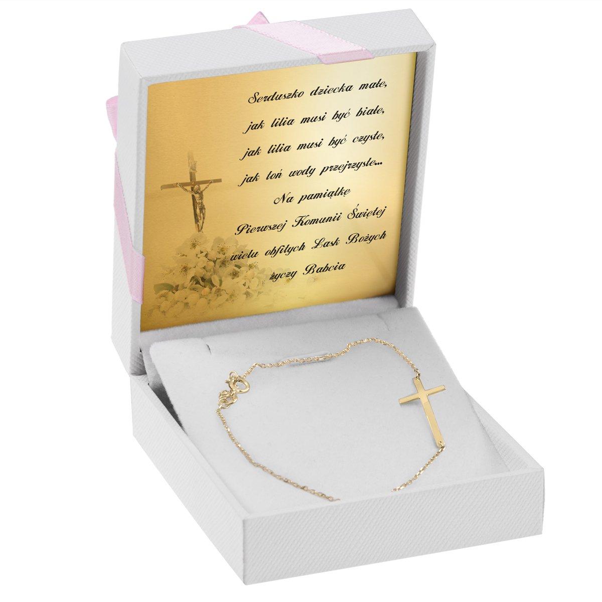 Złota Bransoletka Łańcuszek z krzyżykiem 19 cm pr. 585 Prezent z Dedykacją